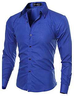 Langærmet Herre Ternet Afslappet/Hverdag Plusstørrelser Skjorte,Bomuld Polyester