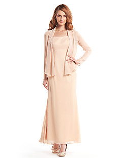 Lanting Sheath/Column Mother of the Bride Dress - Champagne Ankle-length Long Sleeve Chiffon