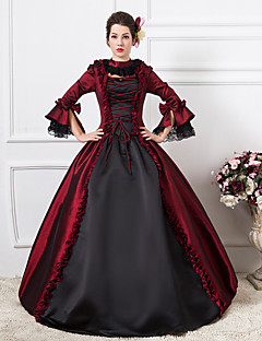 Steampunk®Burgundy and Black Long Sleeves Satin Classic Victorian Dress Medium Wine Long Party Dresses