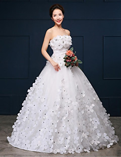 Ball Gown Wedding Dress - White Chapel Train Strapless Organza / Satin