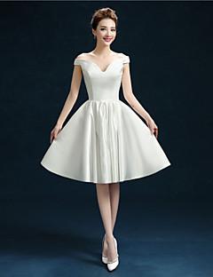 Short/Mini Satin Bridesmaid Dress - White A-line Off-the-shoulder