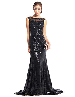 TS Couture® Formal Evening Dress - Black Trumpet/Mermaid Scoop Sweep/Brush Train Sequined