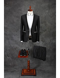 Suits Tailored Fit Slim Notch Single Breasted One-button Cotton Blend Solid 2 Pieces Black Straight Flapped Double (Two) BlackDouble