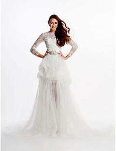 웨딩 드레스-아이보리(색상은 모니터에 따라 다를 수 있음) A 라인 성당 트레인 보석 레이스 / 튤