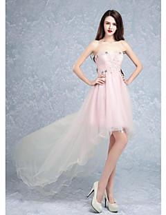 Aライン カクテルパーティー ドレス パールピンク チュール スイートハート スイープ/ブラシトレーン