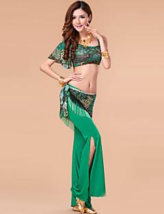 ריקוד בטן תלבושות בגדי ריקוד נשים ביצועים מילק פייבר עטוף 3 חלקים עליון מכנסיים צעיף מותניים לריקודי בטן