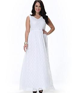praia loose / balanço vestido doces curva das mulheres, sólido / impressão v pescoço midi branca sem mangas de poliéster / spandex verão