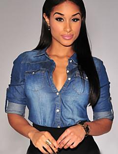 Women's Vintage Shirt Collar Long Sleeve Blue Demin Shirt , Casual