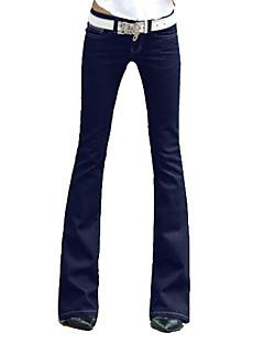 vrouwen stevige blauwe denim bootcut jeans