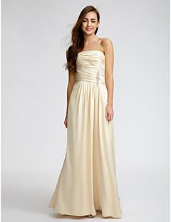 Lanting Bride® Floor-length Satin Bridesmaid Dress - Sheath / Column Strapless with Crystal Detailing / Criss Cross