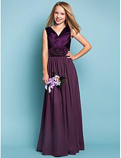 Floor-length Chiffon / Stretch Satin Junior Bridesmaid Dress - Grape Sheath/Column V-neck