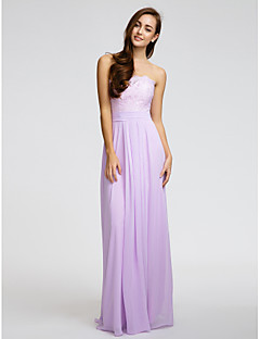 Lanting Bride Floor-length Chiffon Bridesmaid Dress Sheath / Column Strapless with Lace / Sash / Ribbon / Ruching