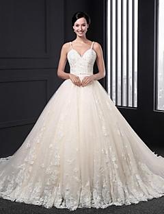 A-라인 웨딩 드레스 코트 트레인 스트랩 레이스 와