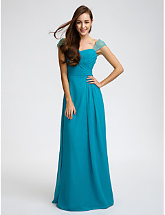 Floor-length Chiffon Bridesmaid Dress Sheath / Column Straps with Beading / Sash / Ribbon / Criss Cross / Ruching