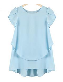 Overhemdkraag / Ronde hals - Katoen / Polyester - Uitgesneden - Vrouwen - Blouse - Korte mouw
