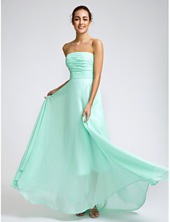 Lanting Bride® Floor-length Chiffon Bridesmaid Dress A-line Strapless with Ruching