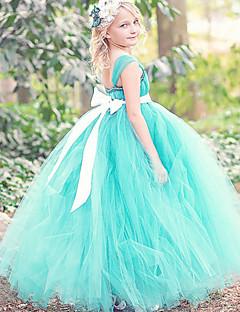 Vestido de vestidos de baile com vestido de bola com tornozelo - Poliéster sem manga de espaguete com fita adesiva