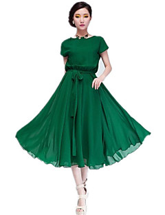 여성의 녹색 / 검정 쉬폰 드레스, 벨트 짧은 소매