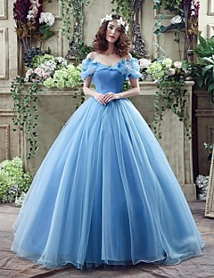 Wedding Dress - Sky Blue Court Train Off-the-shoulder Georgette