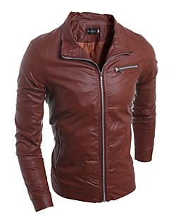 Men's Fashion Style Zipper Decorative Slim Leather Jacket