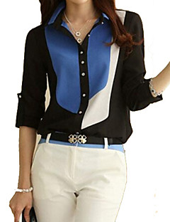 Women's Color Block Black/Blue Shirt, Work Shirt Collar Long Sleeve