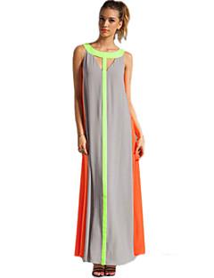 полосатый / цвет блока платье женская, сексуальная / пляж / партии повод