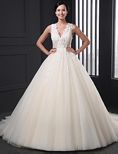 Ball Gown Wedding Dress - Champagne Chapel Train V-neck Tulle