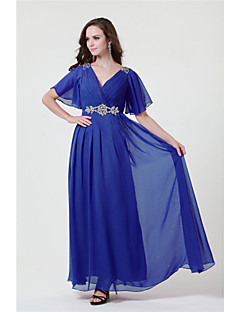 A-line V Neck Mother of the Bride Dresses - Grape Royal Blue Black Floor-length Charmeuse Full Length