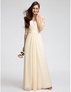 Lanting Bride® Na zem Šifón Šaty pro družičky - Pouzdrové Kopeček s Krajka