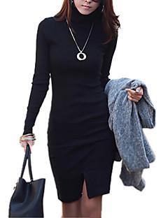 Women's Vintage/Sexy/Party/Work/Plus Sizes Micro-elastic Long Sleeve Asymmetrical Dress (Cotton)