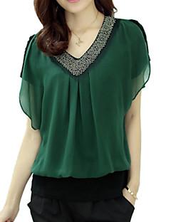 Damen Bluse - Perlenbesetzt Chiffon / Polyester Kurzarm V-Ausschnitt