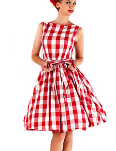 Women's Going out Vintage Skater Dress,Plaid Boat Neck Above Knee Sleeveless Red Cotton / Polyester Summer High Rise Micro-elastic Medium