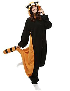 Kigurumi Pyjamas Bjørn Vaskebjørn Trikot/Heldragtskostumer Festival/Højtider Nattøj Med Dyr Halloween Sort Patchwork Polarfleece Kigurumi