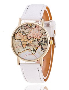 Dames Modieus horloge Kwarts World Map Patroon PU Band Zwart / Wit / Bruin Merk-