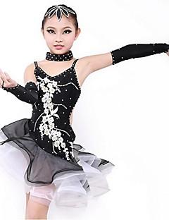 Latin Dance Dresses Children's Performance Spandex Pleated 1 Piece Black