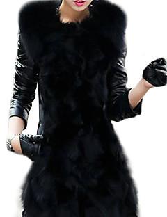 אחיד מעיל נשים שרוול ארוך חורף דמוי פרווה
