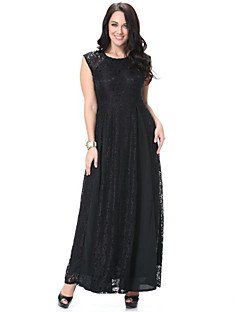 SWEET CURVE Women's Beach Plus Size / Lace Dress,Solid Round Neck Maxi Sleeveless Black Polyester Spring