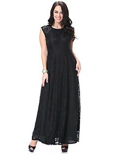 sladký křivka pláž plus velikosti dámské / krajkové šaty, pevný kulatý výstřih maxi bez rukávů černá polyester jaro