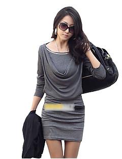 vrouwen effen wit / zwart / grijze jurk, bodycon kap met lange mouwen verzamelde