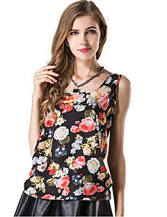 Women's Floral Blue / White / Beige / Black / Yellow / Multi-color Vest , U Neck Sleeveless