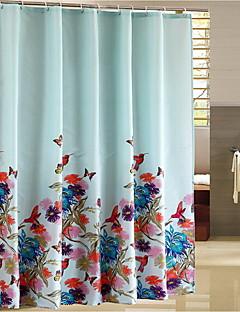 """Duschvorhang Modern Style Blue Flower drucken Thick Fabric Wasserdicht W71 """"x L71"""" mit Mental-Haken"""