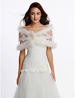 Wedding  Wraps Shrugs Sleeveless Sequined / Feather/Fur Ivory Wedding / Party/Evening Feathers / fur / Sequin Clasp