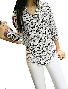 De las mujeres Simple Casual/Diario Verano Camisa,Cuello Camisero Estampado 3/4 Manga Poliéster Blanco Fino