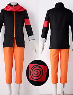Inspireret af Naruto Naruto Uzumaki Anime Cosplay Kostumer Cosplay Suits Patchwork Sort / Orange Jakke / Bukser / Halstørklæde