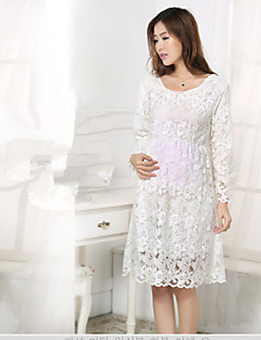 Maternity Lace Solid Color Loose Dress