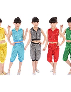 Jazz Outfits Children's Performance Cotton Sequins 2 Pieces Black / Blue / Dark Green / Red / Yellow Jazz Pants / Top
