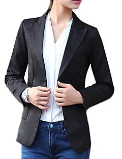 여성의 솔리드 긴 소매 블레이져 화이트 / 블랙 면 / 그외 봄 중간
