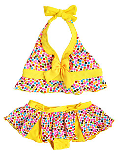 Summer Sleeveless Yellow/Green Dots Separated Swimming Suit 2pcs Bikinis Set Beach Takini Suit for 2~11Y Baby Girls