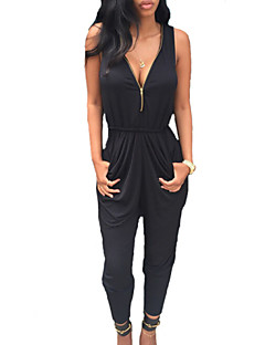 Women's Double Zipper Solid Black Jumpsuits , Casual / Day V Neck Sleeveless