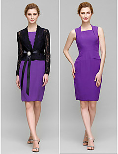 Lanting Sheath/Column Mother of the Bride Dress - Regency / Multi-color Knee-length Long Sleeve Chiffon